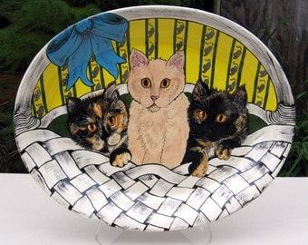 Cat Platter Three kittens In A Basket