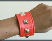 Red Studded Vegan Leather Cuffs, Unisex, Bracelets, Cynt D B