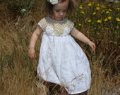 Linen  crochet spring / summer dress for the baby girl and toddlers any size