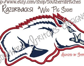 Arkansas Razorbacks Applique Embroidery design, Wooo Pig Sooie, ARKANSAS, Hogs, AR Razorbacks 5 sizes, machine embroidery, Instant Download