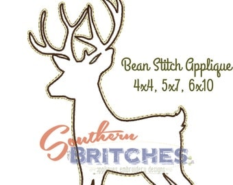 Deer- Silhouette Applique, Bean stitch Applique, Forest Animals Collection by SouthernBritches, Machine Embroidery Designs-Instant Downloads