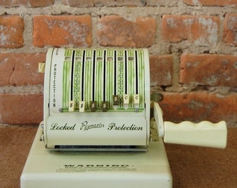 Vintage Lime Green Paymaster Check Writer Machine with Key