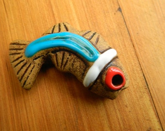 High fired earthenware ceramic Fish pendant piece