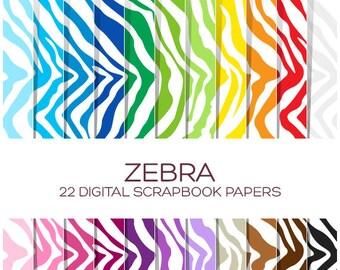 Zebra Digital Paper Animal Print Digital Paper Digital Scrapbook Safari Digital Paper Zebra Clipart Safari Clipart Zoo Animal Clipart-P00015