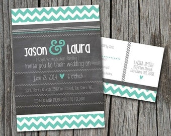 DIY Printable - Chalkboard Wedding Invitation Set with Chevrons and Stitches