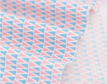 Pink Blue Mini Triangles Cotton Fabric - By the Yard 57230 - Geometric