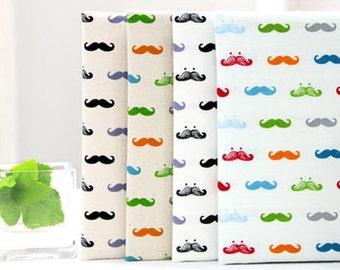 "Fat Sixth Bundle Mustache Oxford Cotton Fabric - 14"" x 17.5"" (set of 4, 1/6 yard each) - 64647"