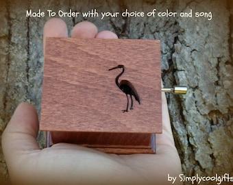 music box, crane, lucky crane music box, music boxes, wooden music box, custom music box, personalized music box, music box shop, crane bird