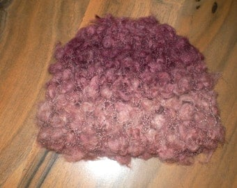 lovely soft to touch hand knitted baby hat pink shades newborn