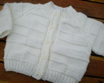 hand knitted baby cardigan / hand knit baby sweater / white baby cardigan /  0-3 month sweater