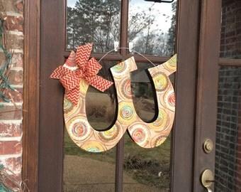 """Wood Initial """"W"""" Door Hanger"""