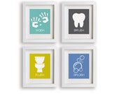 Bathroom Manners - Set of Four Childrens Bathroom Decor Prints - Framed Bathroom Art, kids decor, toddler gift, bathroom art prints, nursery