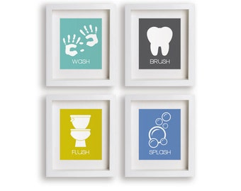 Bathroom Manners - Set of Four Bathroom Decor Prints - Framed Bathroom Art, kids decor, toddler gift, bathroom art prints, kids bathroom