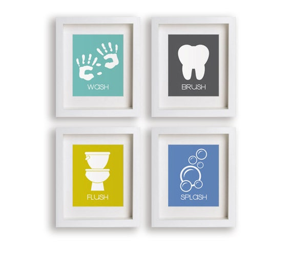 Bathroom Manners Set Of Four Childrens Bathroom By Nikoandlily