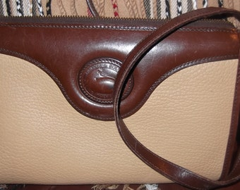 Beautiful vintage Dooney & Bourke handbag, brown and beige leather cross body