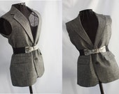 Womens Vest Belted Upcycled Clothing Recycled Wool Black and White Size M/L