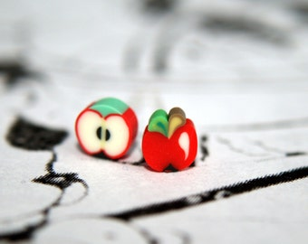 Tiny Polymer Clay Apple Stud Earrings - Perfect for kawaii lovers & apple addicts!