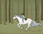 Unicorn Gallop, a girl rides astride a beautiful unicorn through the forest, Giclee fine art print, 8x10, wall art, decor, gift
