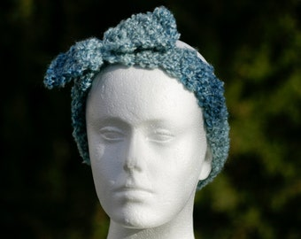Blue retro headband / ear warmer