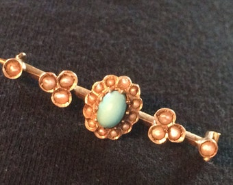 Antique Victorian 14k Yellow Gold Pearl & Persian Turquoise Brooch Pin with C clasp.