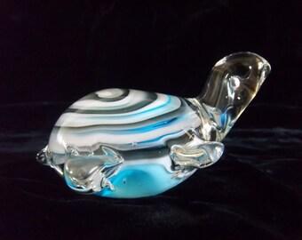 Hand Blown Murano Italy Style Glass Turtle Figurine - Paperweight - Robins Egg Ocean Blue Swirl - Vintage Sea - Beach - Nautical Home Decor