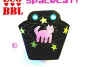 Roller Derby Toe Guards Cat - Space Cat - Handmade - Pair - Pink Cat and Green Star