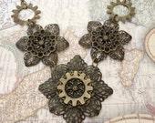 Bronze Steampunk Filigree Flower Necklace