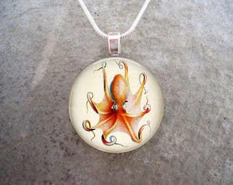Octopus Jewelry - Glass Pendant Necklace - Octopus 18