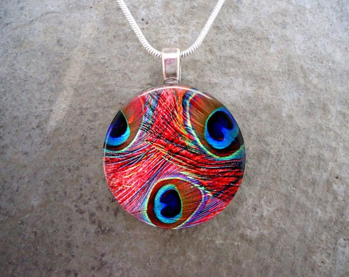 Peacock Feather Jewelry - Glass Pendant Necklace - Peacock 7 - RETIRING 2017
