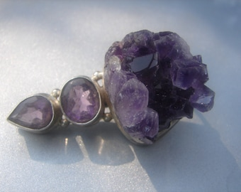 Giant Amethyst Enhancer in Sterling 407.