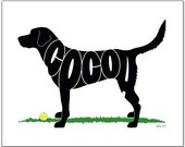 """Personalized Black Lab (or any breed) 7"""" x 5"""" (or larger) Personalized Gift, Name Art, Black Lab Portrait, Silhouette"""