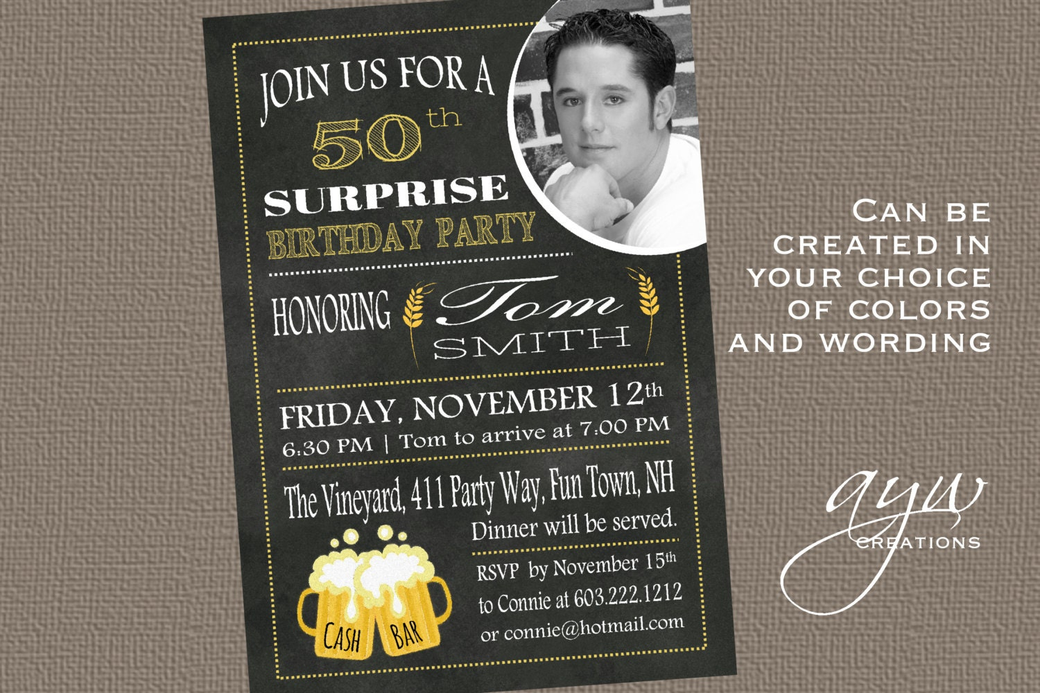 50th Birthday Man Invitation Cheers and Beers Birthday Party – Party Invitations 50th Birthday