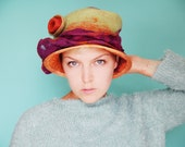 SOLD @ Exhibition - Festival Hat - Womans Felted Cloche Hat - Multicolor Hat - Boho Fun Hat - Purple Orange Green Sun Hat