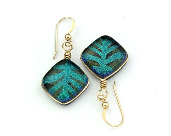 Gold Filled Wire Wrapped Emerald Fused Dichroic Glass Earrings, Abstract Leaf