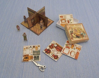 Gaël  Miniature New Folding Dollhouse  game-toy McLoughlin Bros. - 1:12 Scale Dollhouse Miniature accesories