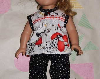 Made For The American Girl Doll  Summer Pajamas  Short Sleeve and Capri bottoms