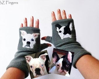 Personalized TWO Dogs Gift. Fingerless Gloves with Pockets for Dog Lovers.