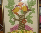 1960's CREWEL OWLS in TREE  Cool Retro Piece! Reserve for J C