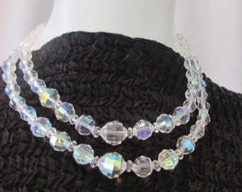 1950's AUSTRIAN CRYSTAL Two Strand NECKLACE