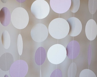 Lavender, Gray and White Paper Garland, Wedding Decor, Birthday Party, Baby Shower Decorations, Nursery, 10 feet long