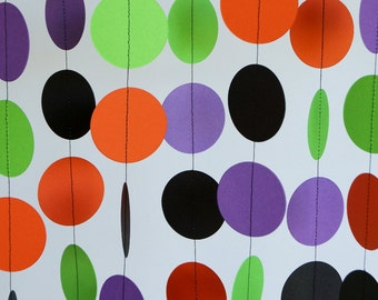 Colorful Birthday Garland, Orange, Black, Purple & Green Circle Garland, Halloween Decoration, 10 ft. long