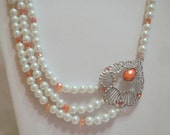 1920s Pearl Necklace, Vintage Inspired Multistrand, with Orange Accents and Silver Filigree Focal