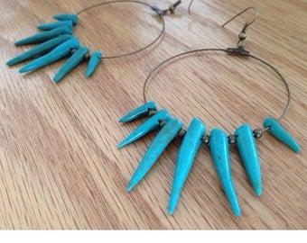 Turquoise Spiked Hoop Earrings