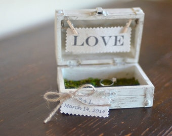 Wooden Ring Bearer Box with Moss Details by Burlap and Linen Co
