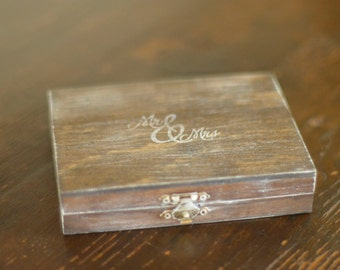 Mr. and Mrs. Ring Bearer Box by Burlap and Linen Co.
