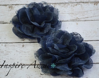 2 Large Lace mesh flowers- Navy fabric flowers, shabby chic flower, flower applique, headband supply, wholesale flowers