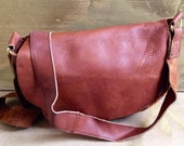 Brown leather cross body recycled purse