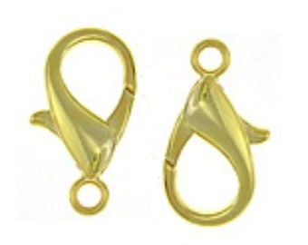 2pc  Gold Finish Lobster Clasps 30x16mm-8137