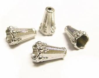 10pc 12x8mm platinum look cone shape metal beads caps-8395