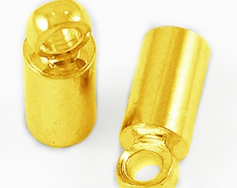 50pc 8x4mm gold finish brass made cord end-8784